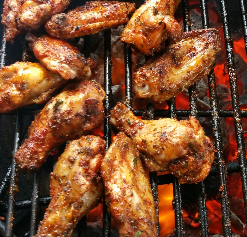 Reggae Rub Wings are best when grilled over charcoal!