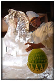 Chef Brian Henry Sculpting Ice Sculpture