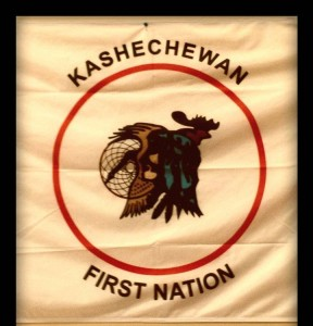 Kashechewan First Nation's flag was brought by Deputy Chief Amos Wesly and council to the Civic Center