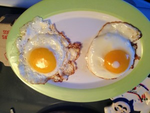 Grocery store egg on the left, Pixie Hollow Farm Egg on the right.